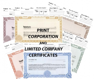 Print Corporation & Limited Company Certificates